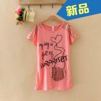 2014新款日韩童装套头衫 夏季中长款打底衫女童亮片短袖T恤L177