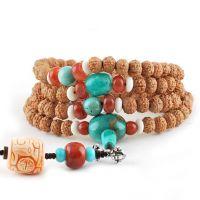 精品尼泊尔肉纹7七瓣小金刚菩提籽佛教念珠手串项链配天然绿松石