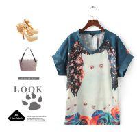 #L 欧美风 星空下的猫家族蝙蝠袖宽松大版中长款T恤批发 1299