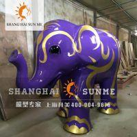 【上海升美】大象玻璃钢雕塑卡通动物模型雕塑商场美陈展览定做