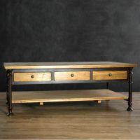 美式乡村实木铁艺餐桌椅组合复古做旧电脑桌子办公会议桌