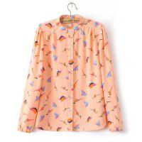 2014秋冬季新款韩版小清新加厚雪纺彩色小鸟印花长袖衬衫打底衫女