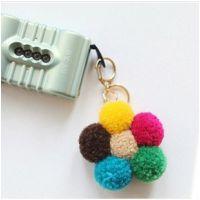 韩国进口彩色毛球毛绒球球花朵挂件手机链钥匙书包链