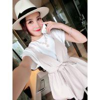 小银子2015春装新款韩国街拍短袖背心上衣两件套T3410