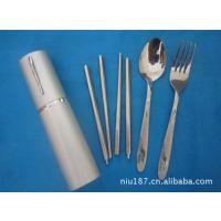 供应铝盒套装 迷你旅游餐具 笔筒式三件套 不锈钢餐具三件套3