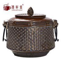复古窑变陶瓷密封普洱茶叶罐储物罐茶配件大号铁釉茶叶桶特价批发