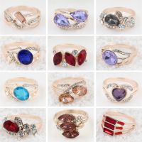 新款日韩高档水晶戒指 混款水钻女士外贸速卖通热卖戒指 地摊货源