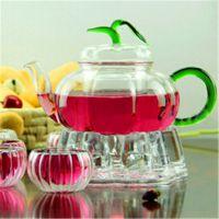 混批零点 创意风格 高硼硅玻璃吹制耐热南瓜茶壶 700ml 功夫茶具