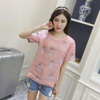 昕蓝大码女装200斤胖mm2016夏装新款韩版糖果色菠萝棉麻短袖T恤