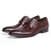 欧美版男式皮鞋系带正装工作穿真皮打造尖头结婚鞋潮流小码37