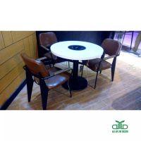 广州酒店火锅城电磁炉大理石餐桌 圆形大理石火锅餐桌椅 运达来定做