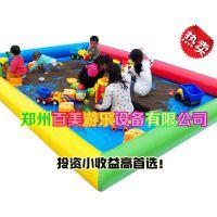 驻马店公园小孩玩沙决明子池,儿童充气沙滩池郑州哪里便宜?