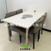 深圳大理石火锅桌 自助火锅店餐桌 12人位连体火锅桌价格优