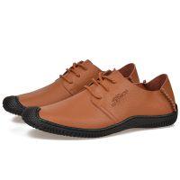 男新款英伦韩版男士商务休闲皮鞋低帮系带透气真皮男鞋
