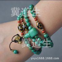 6MM特价批发天然绿松石佛珠项链珠 西藏族108颗绿松石项链念珠