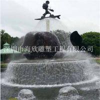 深圳玻璃钢树脂景观喷泉产品道具雕塑厂订做直销 广场公园小区艺术水景海豚工艺品雕塑造型