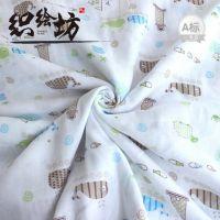全棉双层卡通鲸鱼印花纱布漂白无荧光母婴用品尿布纱布面料10884