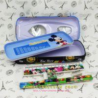 包邮迪士尼双层赛车汽车文具盒笔袋铁笔盒小学生笔套装盒学习用品