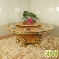 江润家具酒店大圆桌欧式圆桌20人餐桌椅大理石带转盘电动大圆餐桌