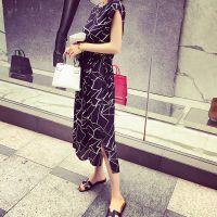 小银子2015夏装新款几何撞色腰部抽带显瘦连衣裙长裙G