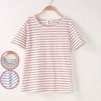 森女日系批发2015夏季新款条纹纯棉宽松大码圆领短袖T恤女MMGC-H