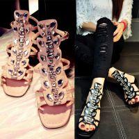 2015欧美风新款真皮女鞋牛皮水钻平跟露趾时尚百搭凉鞋 一件代发