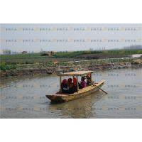 供应5m公园景区乌篷装饰船做旧二手乌篷船 景观装饰品木船制造厂家