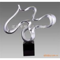 抽象飘带雕塑摆件 银箔雕塑【树脂雕塑-树脂抽象动物雕塑-树脂贴银箔摆件-贴贝壳雕塑】