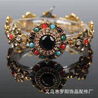 尼泊尔 异域风情 欧美外贸 优质饰品批发 金属宝石镶钻  搭扣手链