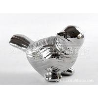 【厂家供应】工艺礼品摆件 亚银拉丝小鸟2 陶瓷动物 软陶饰品