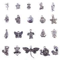 藏银动物贝壳蝴蝶吊坠-手工DIY合金海星挂件串珠藏式散珠配饰批发