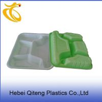 外绿内白四格打包盒 一次性快餐盒 一次性塑料饭盒可微波 直销