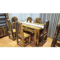 船木家具餐台,船木餐厅家具餐台餐椅套装。餐台7件套批发