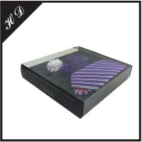 简约创意PVC窗口折盒式领带包装盒 可定制组合式领带袖扣包装纸盒