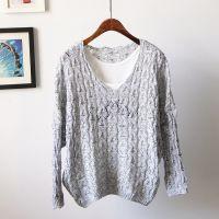 2015春夏新款 宽松大码镂空针织衫V领线衫杂色女套头蝙蝠袖毛衣
