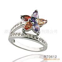 AAA级锆石七彩花朵花瓣戒指 铜镶锆石戒指 水晶戒指 外贸出口戒指