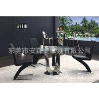 不锈钢圆形玻璃餐桌 玻璃餐台 西餐厅家具 金属餐厅家具(Y007#)