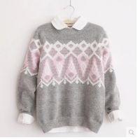 秋冬韩版复古灰色几何图案加厚圆领套头长袖打底衫毛衣女短款潮