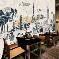 饭店火锅店餐厅背景墙纸学校食堂背景大型壁画服装店壁纸欧式风格墙布