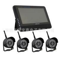 7寸无线监控套装 无线DVR 无线摄像机 红外夜视 配四个无线摄像头