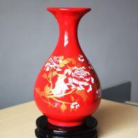 供应景德镇中国红花瓶 中国红瓷器 中国红花瓶婚庆 家饰批发