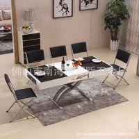 中小户型升降餐桌茶几两用 钢化玻璃可伸缩折叠移动餐桌椅组合