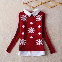秋冬女装韩版衬衫娃娃领羊毛衫女式针织衫打底衫女毛衣圆领套头