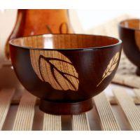 全木纹树叶碗 创意木碗 木制碗 日式木制汤碗 饭碗 面碗 出口质量