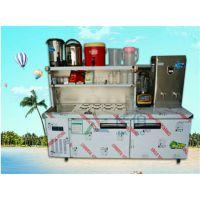 安徽佳伯专业定制奶茶操作台不锈钢水吧台咖啡店设备冷饮组合柜