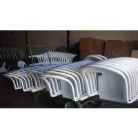 供应户外烧烤塑料桌椅 双龙白色聚丙烯桌椅