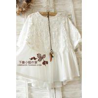 2015夏装新款短袖 日系 森女系 小清新刺绣花朵韩版衬衫一件代发