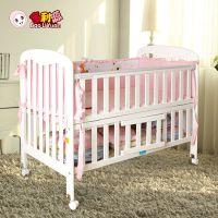 宝利源 实木婴儿床童床 白色实木宝宝床bb床 多功能童床送短护栏