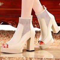 女式凉鞋 2015新款外贸高跟鞋女鞋防水台粗跟鱼嘴凉鞋 女鞋批发