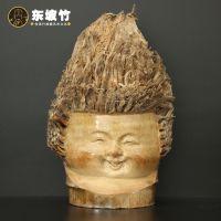 家居摆件工艺品纯手工雕刻艺术品现代风竹根雕抽象人物头像娃娃头
